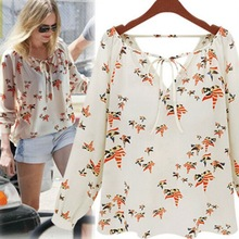 2016 Women Fashion Chiffon Top Blouse Short Long Sleeve Dove Print Casual Loose Shirt