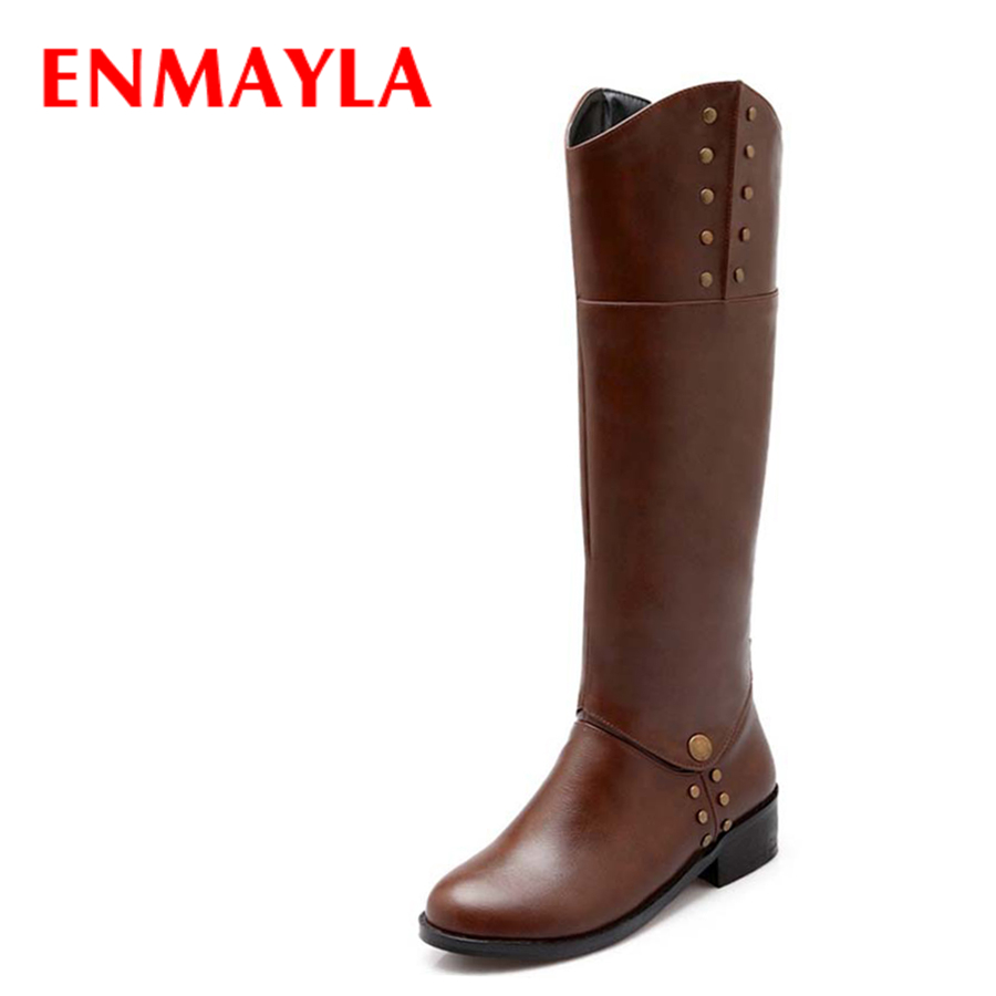 ENMAYLA Fashion Women Two Styles Short Boots Round Toe The Knee High Boots Motorcycle Long Boots Shoes Rivets Knight Boots цены онлайн