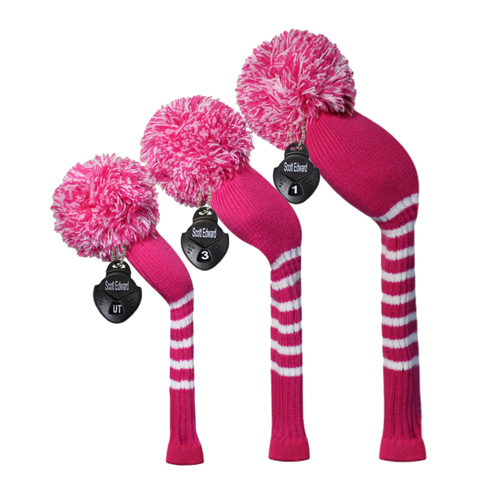 Rose Color Ladies 'Knit Golf Headcover set 3 untuk Pemandu (460cc), Fairway dan Hibrid, Craftmanship buatan tangan, Hadiah Golf