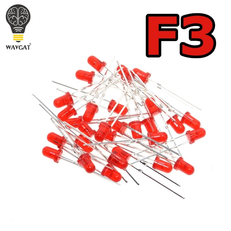 WAVGAT красный F3 светодиодный мм светодиод красный светоизлучающий диод 1000 шт Красный светоизлучающий красный поворот красный