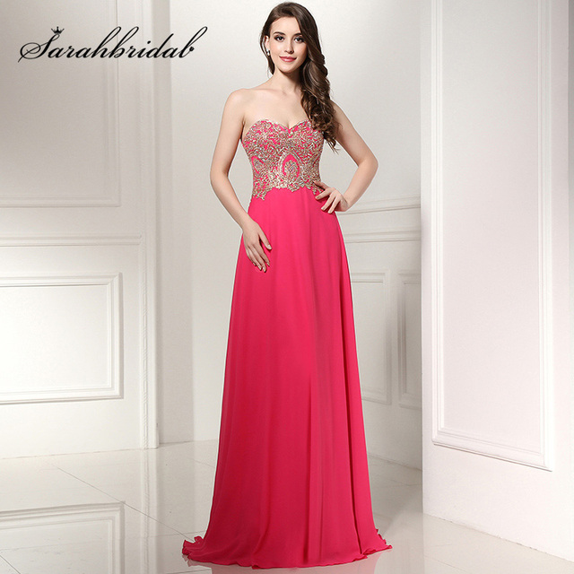 ea1b0d095c0 Sexy Sweetheart Fuchsia Long Prom Dresses 2017 With Appliques Galajurken  Evening Gown Lace Up Black Women Prom Party Dress LX214