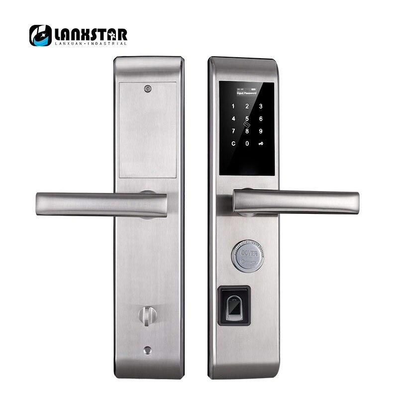 Lanxstar Fingerprint Biometric Door Lock Keyless Electronic Fingerprint Moving Dynamic Code