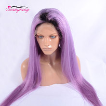 Top Quality 10A Lavender Full Lace Human font b Hair b font Wig Dark Root Purple