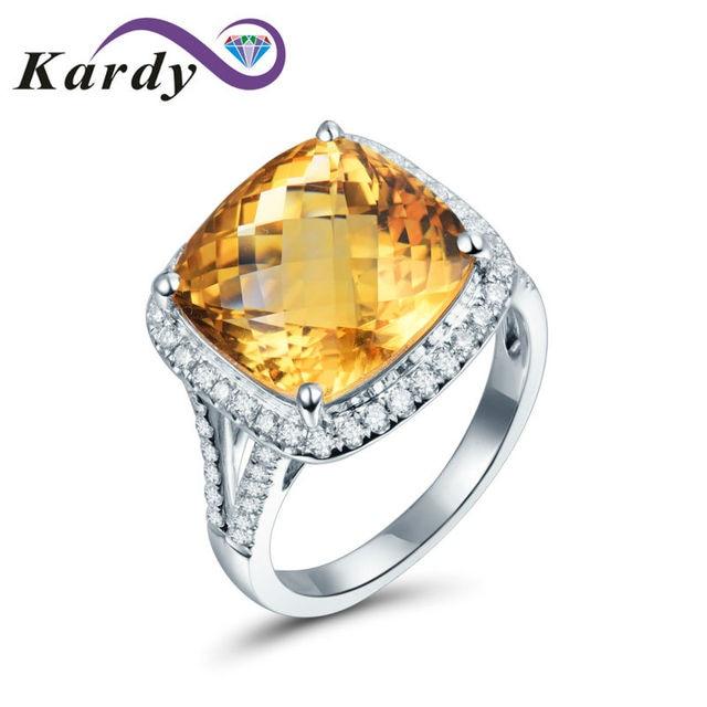25078b1fc85a Increíble Cojín Vintage Amarillo Citrino Piedra Preciosa Banda de Bodas de  Compromiso de Diamantes 14 K