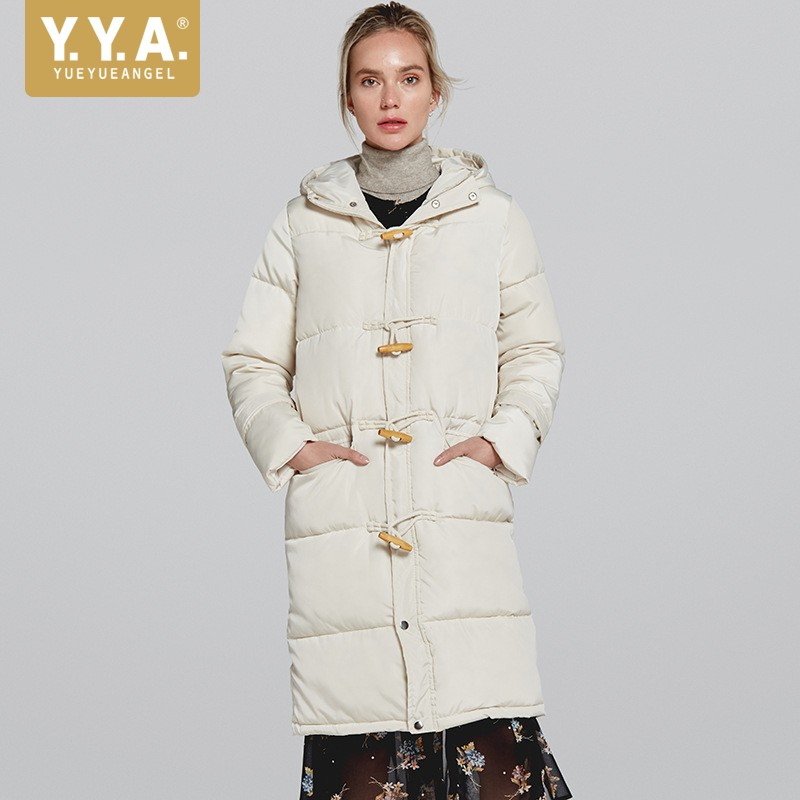 Warnen Europäischen Solide Weiß Mit Kapuze Unten Jacke Weibliche 2019 Winter Dicke Warme Lange Mantel Mode Gerade Winddicht Parka Plus Größe S-2xl