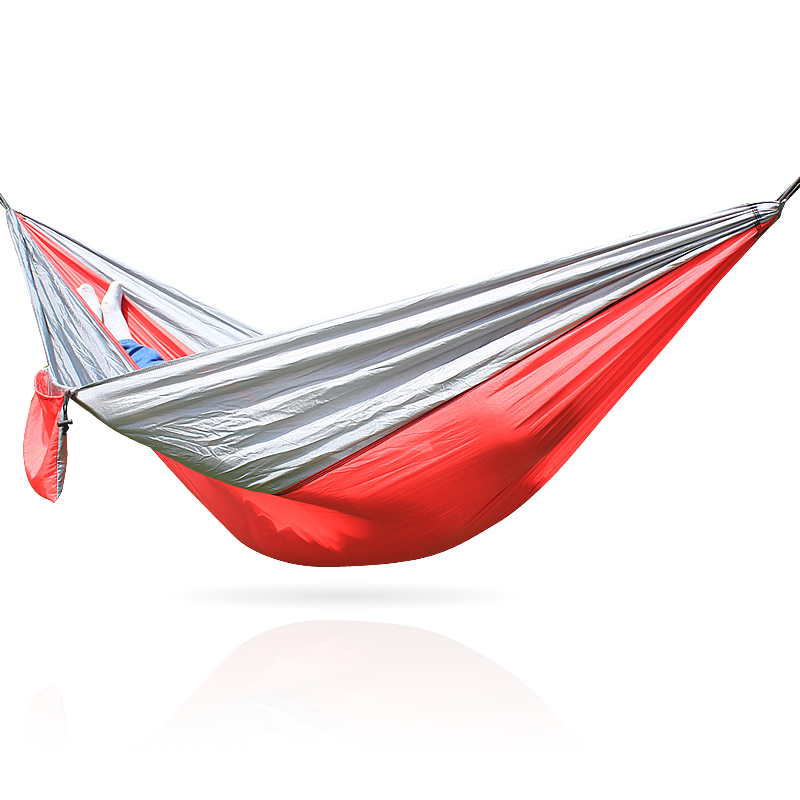 260*140CM Single Person Nylon Camping Parachute Hammock Red And Gray Color Loading 300kg