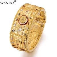 Wando Large Grand luxe Open Bracelets&Bangles for Women/Girl Dubai France Wedding Bracelet Bangles Middle East jewelry gift