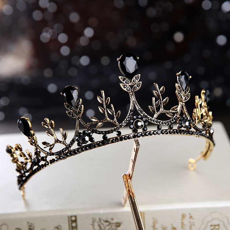 2019 Baroque Vintage couronne de cristal noir pour mariée coiffure mariage diadème accessoires de cheveux princesse reine couronnes diadèmes de mariée