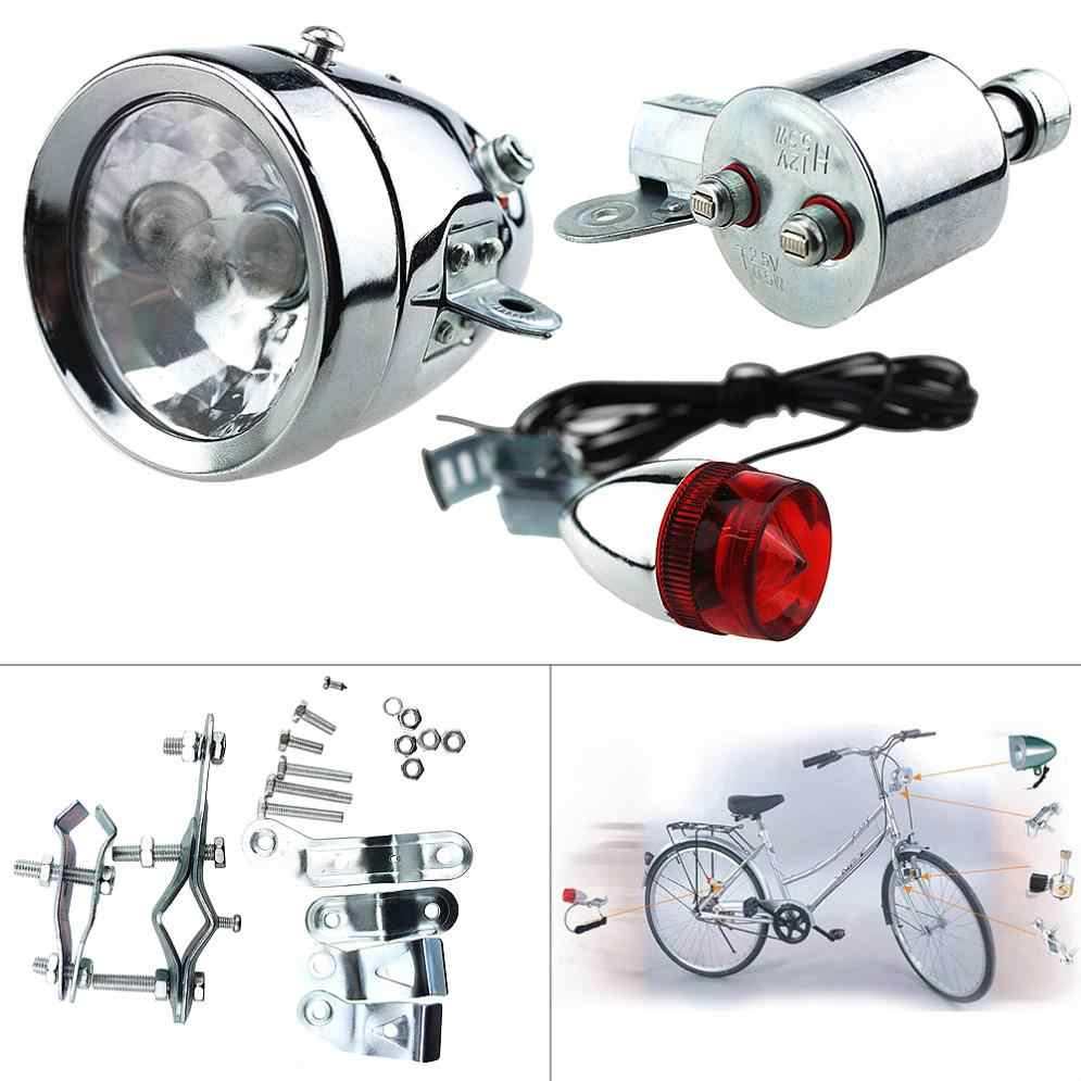Bicycle Motorized Bike Friction Generator Dynamo Headlight Tail Light Kit CS
