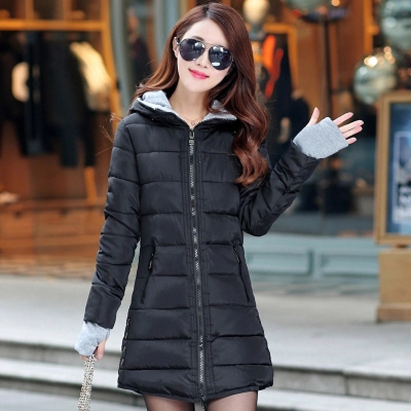 ФОТО 2016 Winter New Fashion Causal Medium Long Section Large Size Hooded Long Sleeve Solid Color Thicken Women Coat