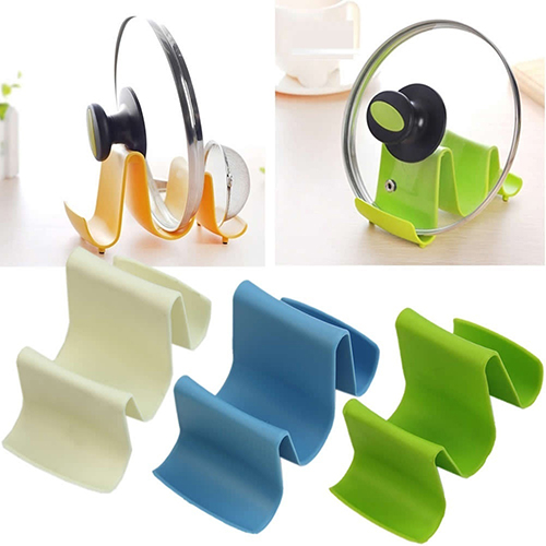 Wave Style Pan Pot Cover Spoon Lid Shell Rack Stand Holder Home Kitchen Utensils