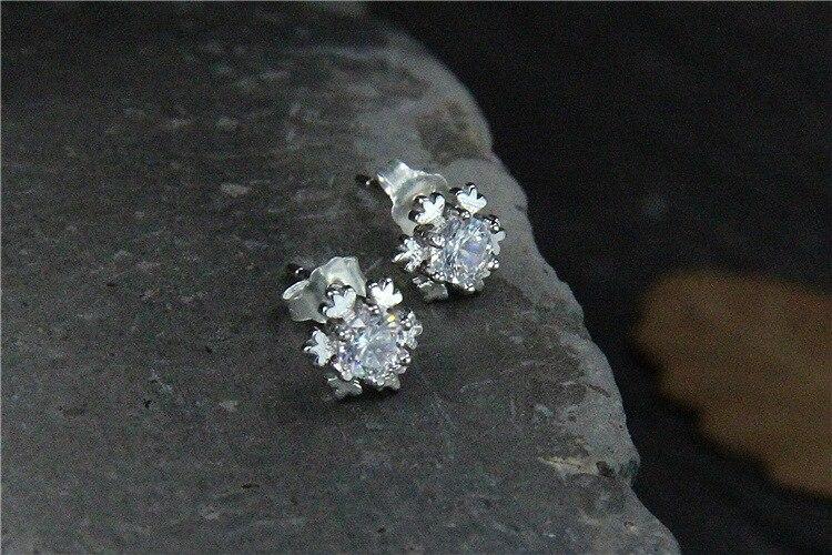 GLSEEVO 925 ստերլինգ արծաթե Snowflake Stud - Նուրբ զարդեր - Լուսանկար 4