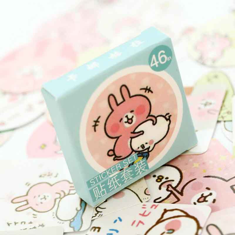 46 Pcs/box Kawaii Rabbit DIY Post it Scrapbooking Diary Sticker Planner Decorations Album Stick Label School Stationery Supplies