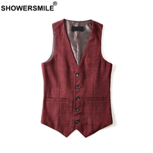 SHOWERSMILE Burgundy Suit Vest Mens Autumn Winter Plaid Slim Fit Waistcoat Wool Vest England Style Sleeveless Blazer Gilet Homme showersmile mens double breasted vest suit black dress waistcoat for men slim fit sleeveless jacket male spring autumn gilet