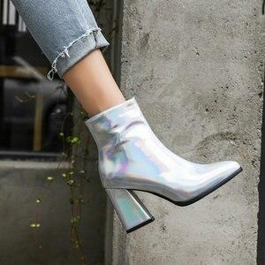 Image 3 - Sianie Tianie 2020 kış patent PU deri gümüş mor altın kadın ayakkabı patik moda blok yüksek topuklu kadın yarım çizmeler