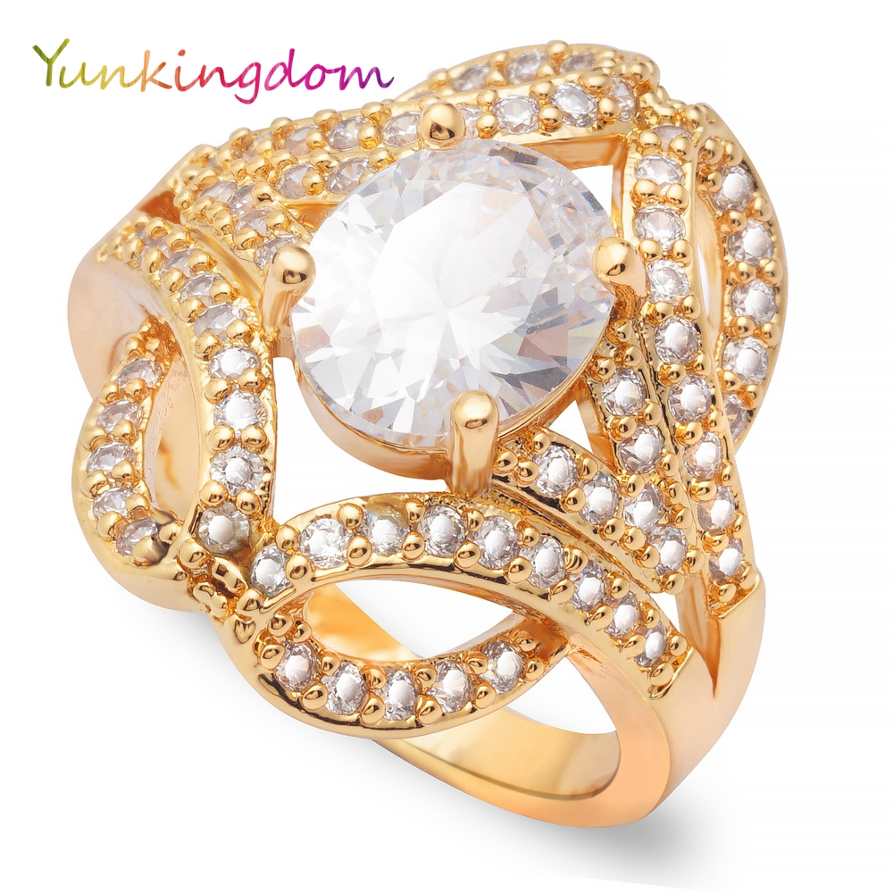 Yunkingdom Vintage Luxury Wedding Rings For Women Jewelry Accessories Noble Celebrities Evening Party Rings