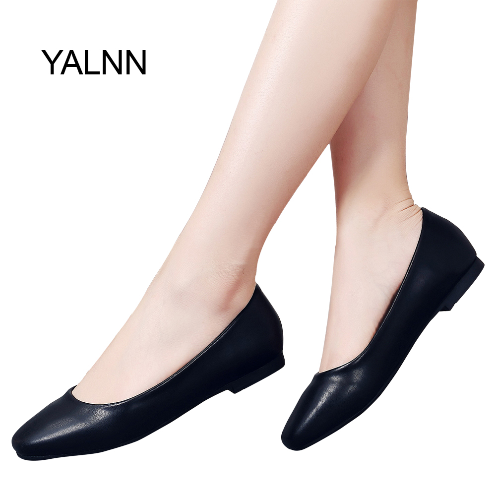 YALNN Career Women Flat Steady Anti-slipping Breathable Leather Square Toe Platform 1cm Heels Shoes Black white Leather Shoes my brilliant career