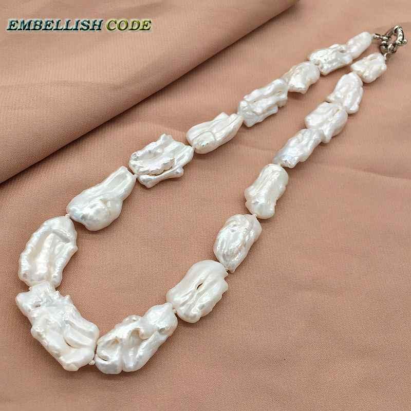 Baroque สไตล์ฤดูร้อน pearl สร้อยคอไม่สม่ำเสมอสแควร์สีขาวไข่มุกธรรมชาติไข่มุก elegant เครื่องประดับสำหรับผู้หญิง