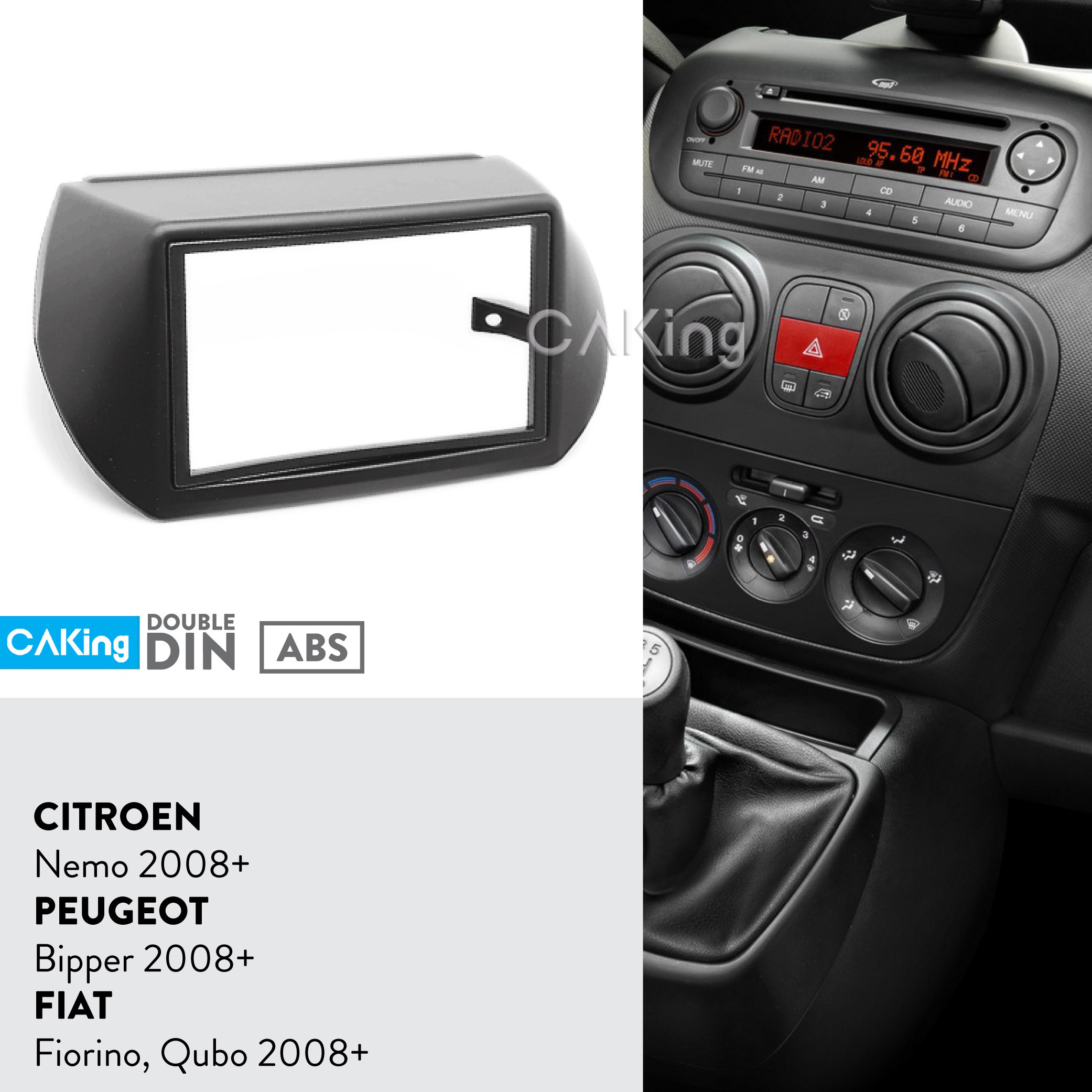 Double Din Car Fascia Radio Panel for CITROEN Nemo / PEUGEOT Bipper / FIAT Fiorino, Qubo 2008+ Dash Kit Adapter Facia Face Plate-in Fascias from Automobiles & Motorcycles    1