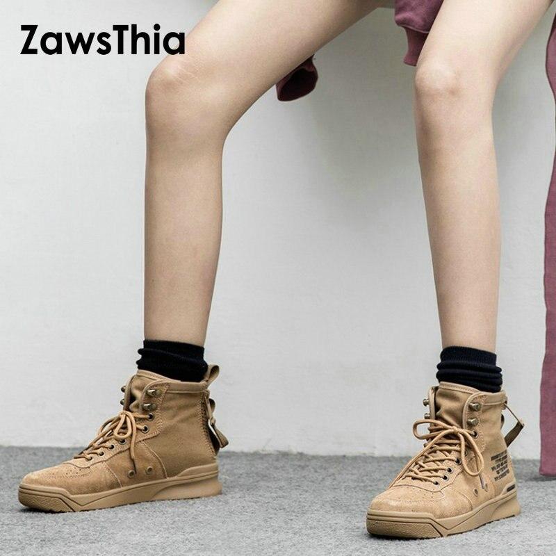 ZawsThia cuir véritable vache daim demin haute qualité à lacets femmes baskets décontractées chaussures hiver femme bottines martin bottes