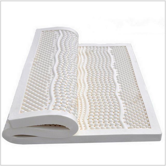 5 CM de espesor Queen Size ventilada siete zona del molde 100% colchón de látex Natural / Topper - con cubierta interior blanco Midium suave