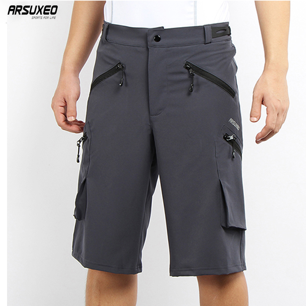 ARSUXEO Mens Outdoor Sports Cycling Shorts Downhill MTB Pockets Shorts Mountain Bike Shorts Hiking Fishing Water Resistant 1705 цена 2017