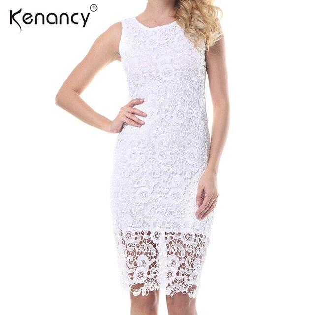 Kenancy 4xl Plus Size Crochet White Lace Dress Women Party Office