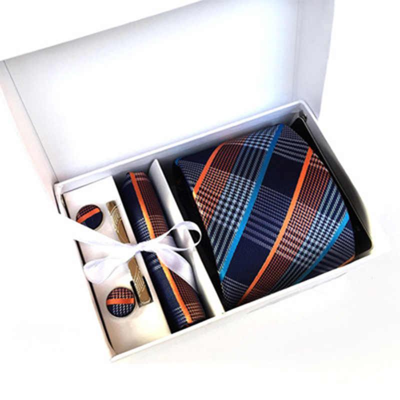 2020 mens fashion tie set jedwabne krawaty dot krawaty dla mężczyzn tie chusteczka spinki do mankietów pudełko na prezenty pakowanie odzież męska akcesoria