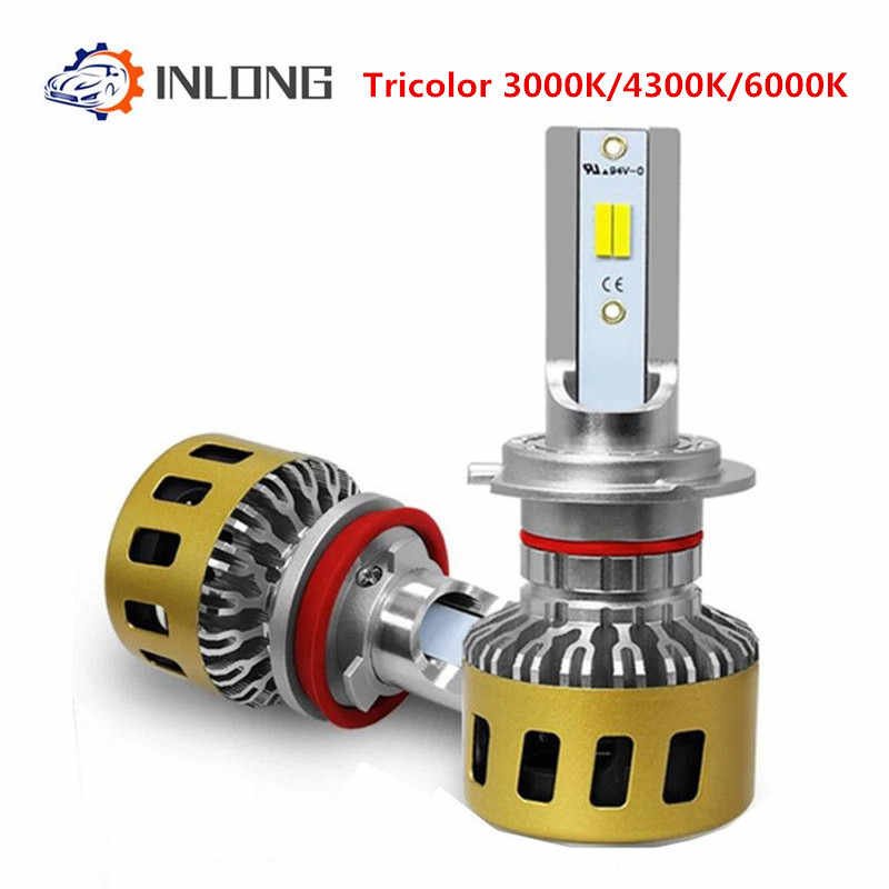 Three-color H7 LED Car Headlight Led Bulbs 80W 10000LM H1 H4 H11 H8 9005 9006 Super Bright Auto Front Headlamp 3000K 4300K 6000K