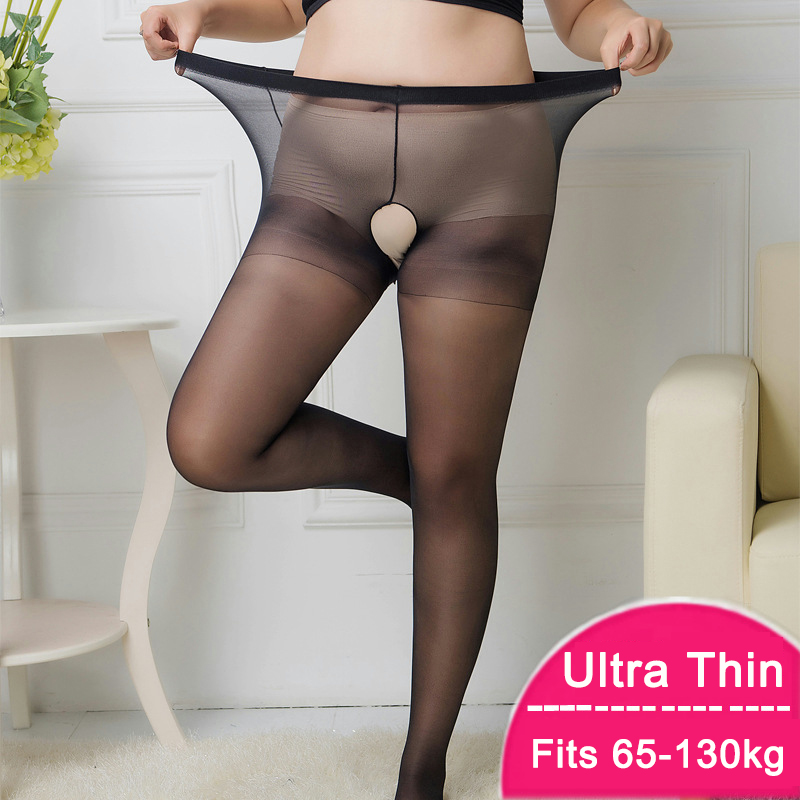 10D Plus Size Women Pantyhose Open Crotch Sexy Ultra-thin Nylon High Waist Open Erotic Tights Large Size Crotchless Pantyhose