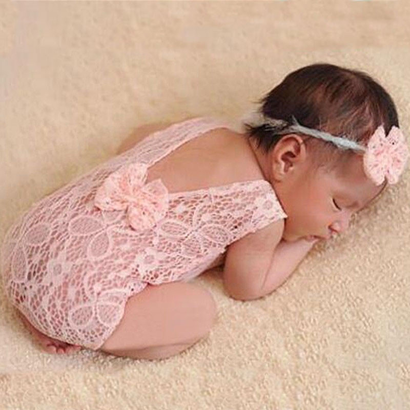 Baby Photography Props Backless Hollow Bowknot Lace Costume Newborn Baby Romper Headband Infant Outfit For Baby Girls Photoshoot lace insert backless cold shoulder romper