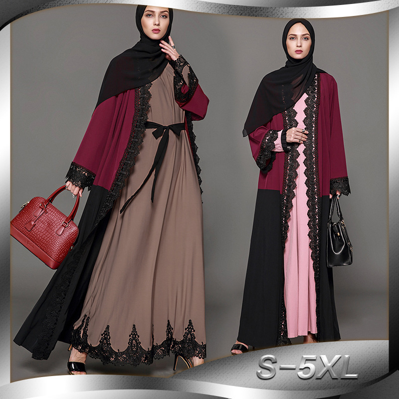 Muslim Abaya Arab Turkey Hot Spot Muslim Cardigan Print Robe Long Dress 1570