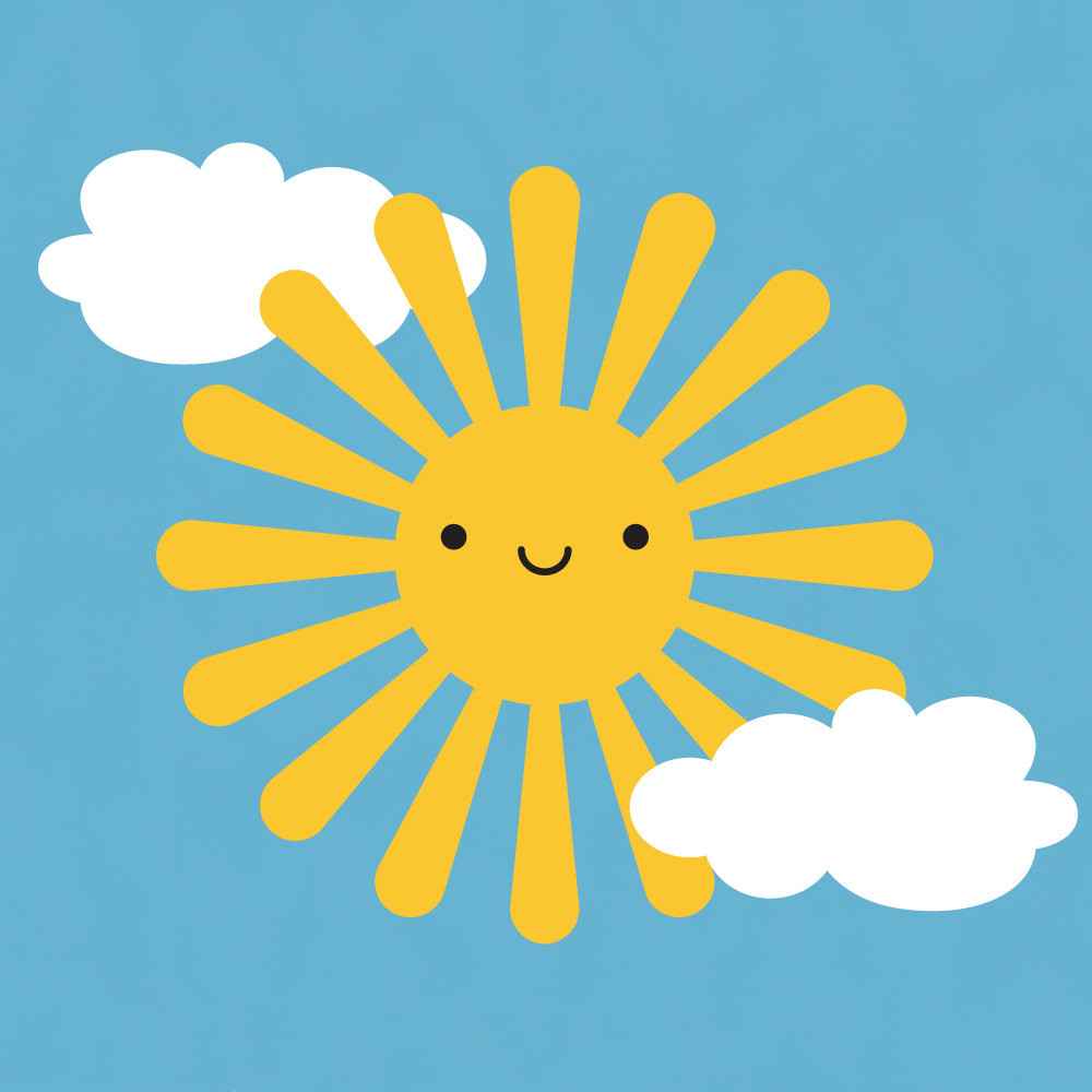 Smiling Sun Clouds Wall Stickers For Kids Room Baby Wall Art Decals ...