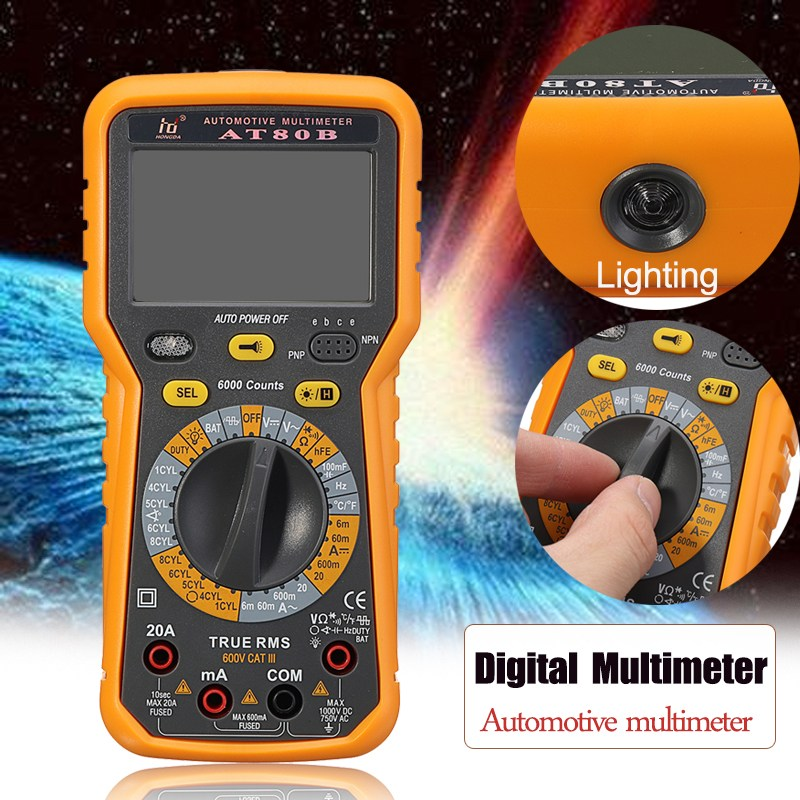 AT80B LCD Digital Multimeter Portable Multi Meter AC/DC voltage meter DC Ammeter Resistance Tester Voltmeter Ammeter Ohmmeter excel dt9205a 3 lcd digital multimeter black orange 1 x 6f22