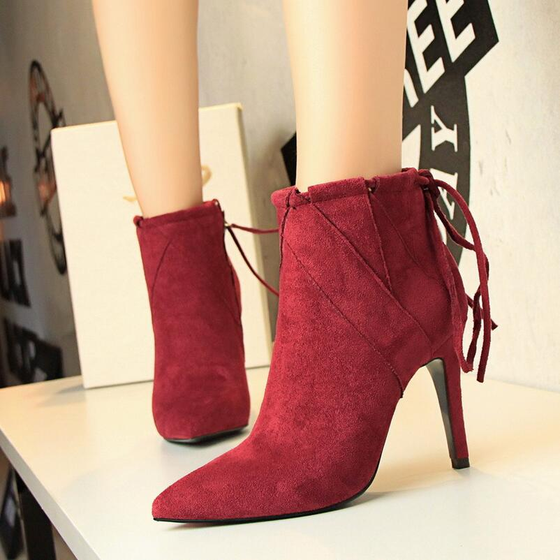 ФОТО  {D&H}Brand Women Boots Elegant Suede Pumps Shoes Woman Autumn Winter Ankle Boot Pointed Toe Lace-Up High Heels Boots Mujer Bota