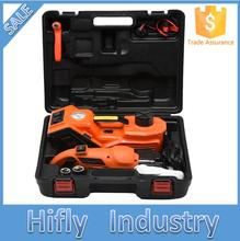 DC12V 3.0T(6600lb) 3 in 1 Electric Hydraulic Floor Jack Tire Inflator Pump and LED Flashlight Set with Electric Impact Wrench