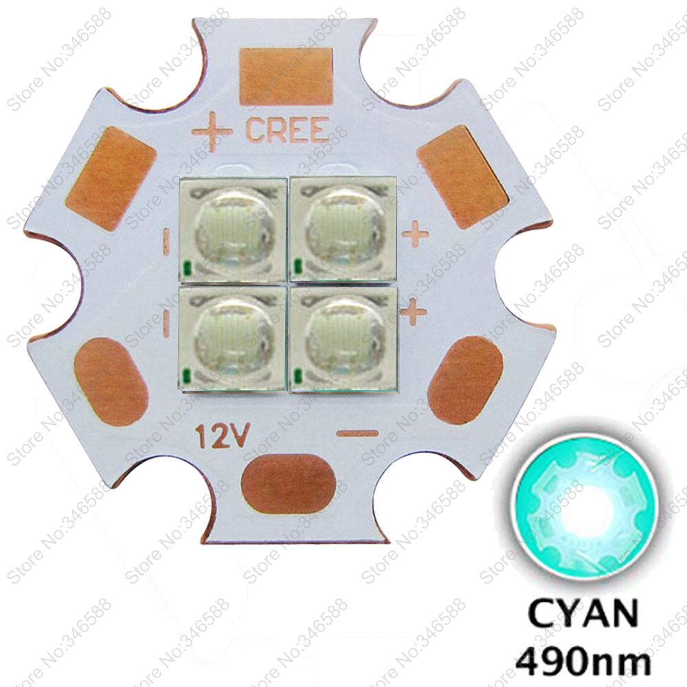 10pcs/lot 3V / 6V / 12V Epileds 3535 4Chips 4-<font><b>LEDs</b></font> 4-18W High Power Plant Grow <font><b>LED</b></font> Emitter <font><b>490nm</b></font> Cyan Color with 20mm Copper PCB image