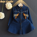Baer Leader Girls Denim Dress 2016 New Autumn Girls Clothes Long Sleeve Turn-down Collar Cartoon Bee Embroidery for Girl Dresses
