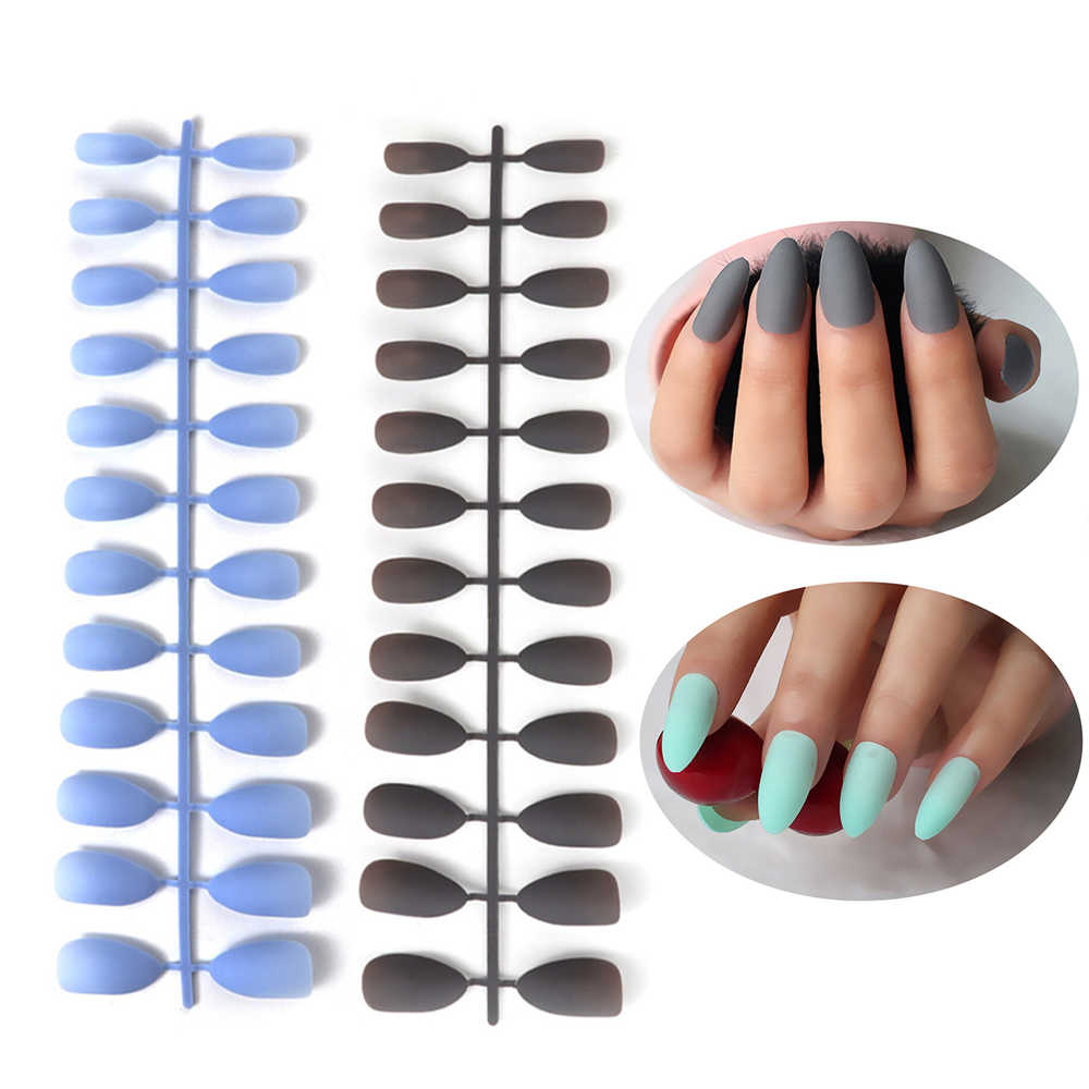 24Pcs/Sheet Women Matte False Nails Long Tips Patch Pure Color Artificial Chip French Nails Art Extensions Accessories Tools
