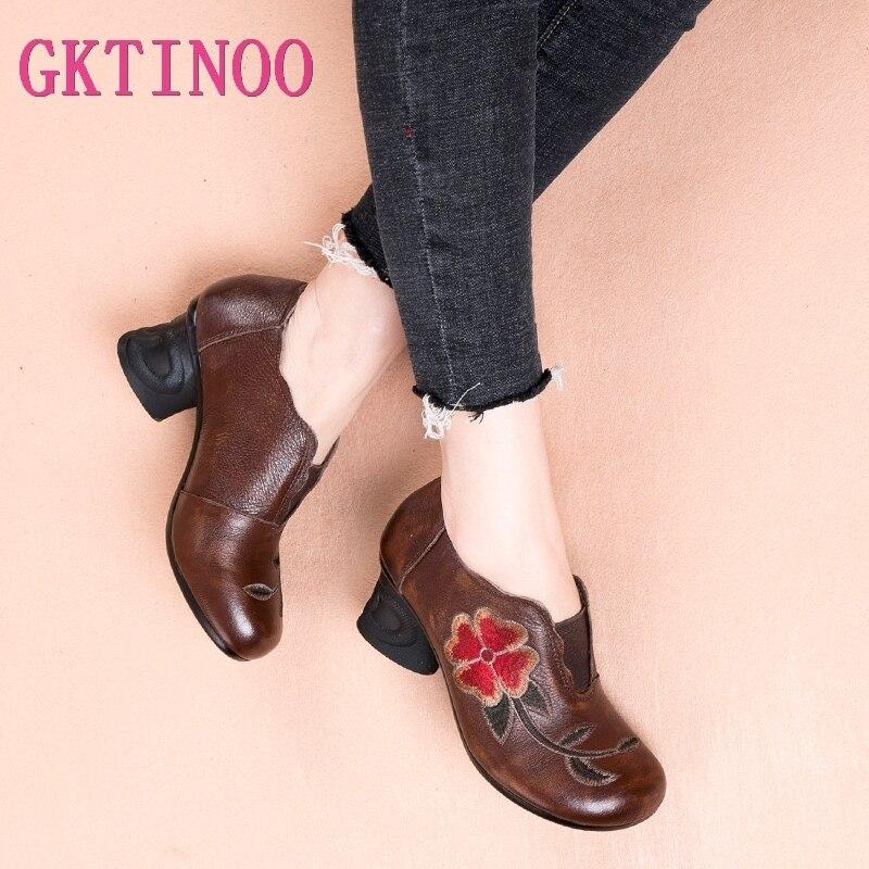 Ayakk.'ten Kadın Pompaları'de GKTINOO 2019 Bahar Hakiki Deri Kadın Ayakkabı Kalın Med Topuklar Bayan Ofis Iş Oyalamak Ayakkabı Sonbahar Hakiki Deri Pompaları'da  Grup 1