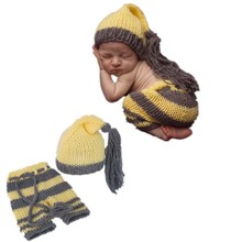 Free shipping Hand-made by fashion cute baby boy and girl l long tail cap newborn photography clothes pants yellow gray suit