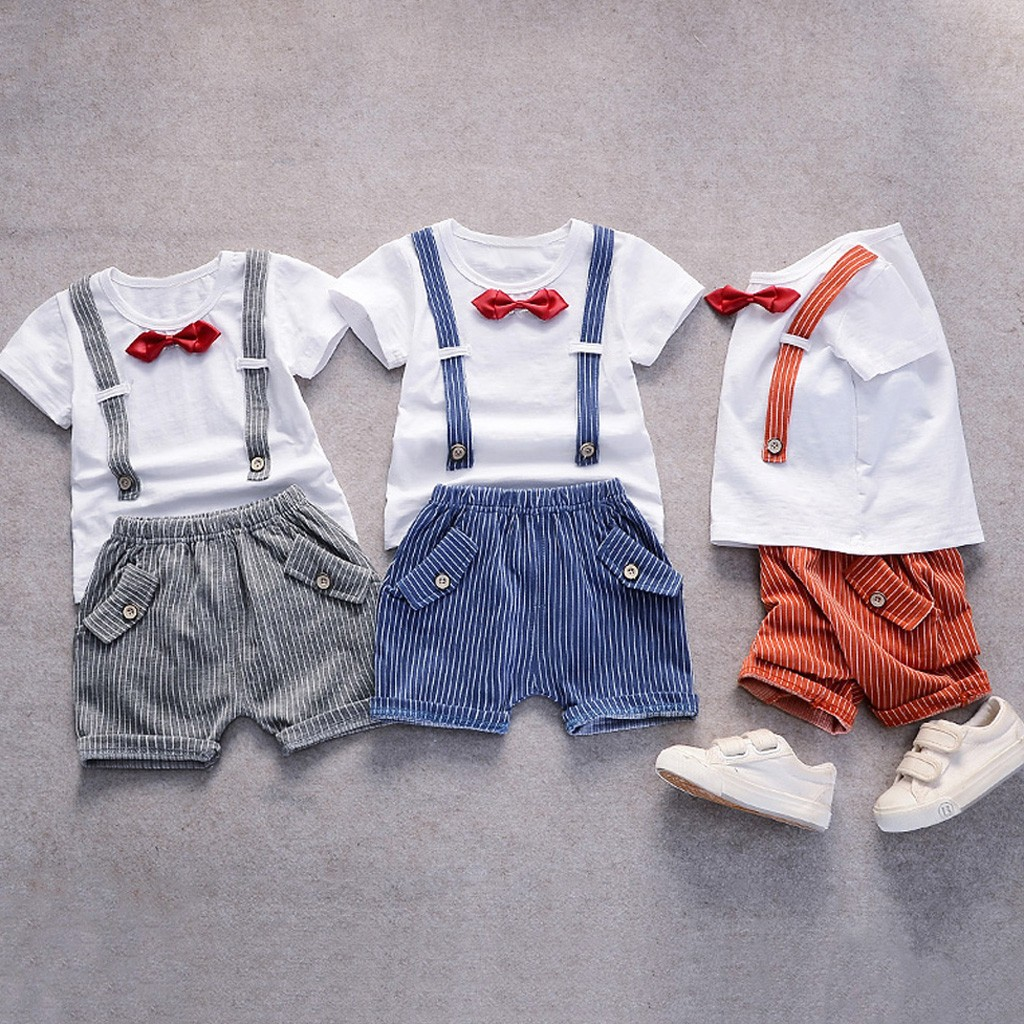 Children Outfits T-Shirt Tops Pants Shorts Toddler Gentleman Baby-Boys Meisjes Bow Kleding