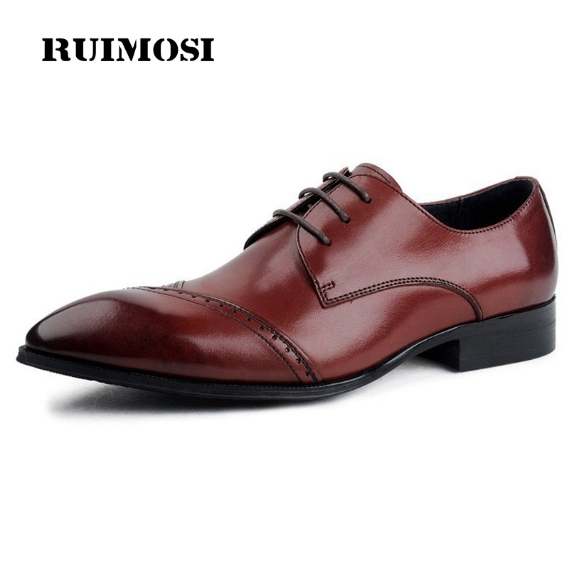 RUIMOSI British Brand Pointed Toe Man Formal Brogue Dress Shoes Vintage Genuine Leather Cow Oxfords Men's Wing Tip Flats EI56