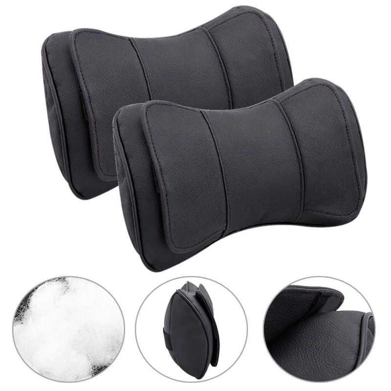 Accesorio 2 piezas de cuero negro coche reposacabezas almohadas cuello cojín cabeza soporte reposabrazos 25*15*8 cm alto calidad nuevo