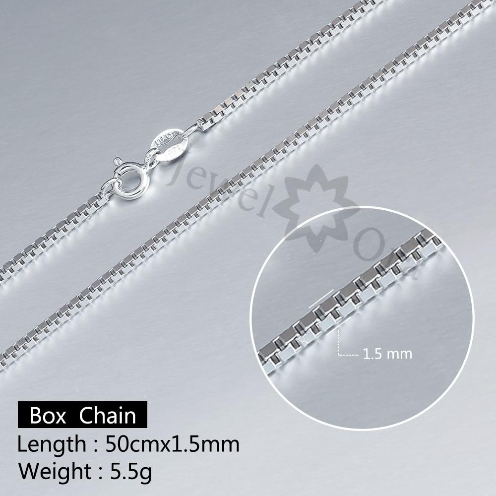 цепи коробки 925 серебряные ожерелья для