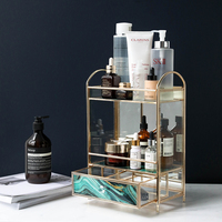 European Creative Glass Multi layer Cosmetics Storage Box Desktop Perfume Skin Care Lipstick Finishing Rack