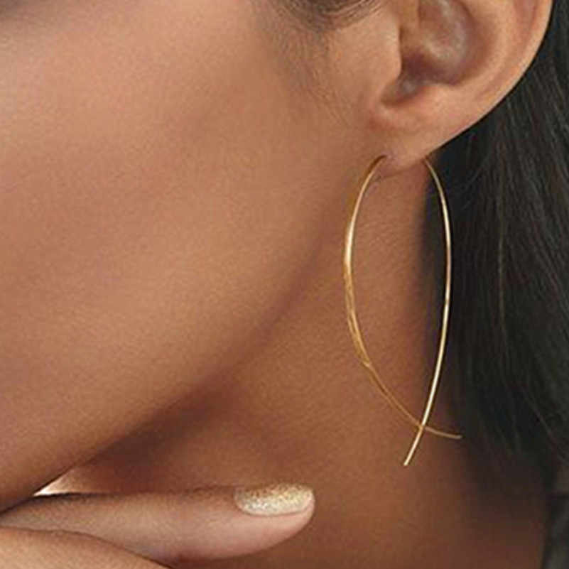 الأسماك على شكل أقراط البساطة اليدوية الأسلاك النحاسية القرط للنساء الذهب اللون هندسية الأذن بروش مجوهرات أقراط e019