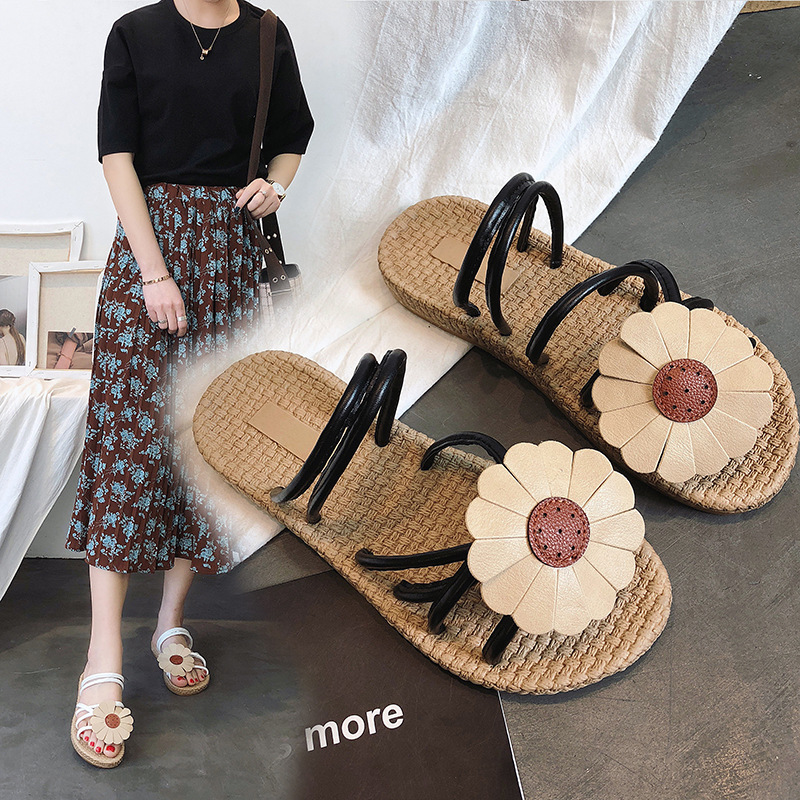 2018 Donne estive Infradito Scarpe Pantofole da donna Sweet Flowers - Scarpe da donna