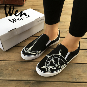 Wen Original Design Custom Marine Ship Anchor Rudder Canvas Hand Painted Shoes Slip On Black Sneakers Shoes Women Men Presents