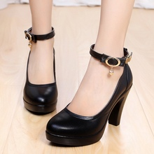 Large Size 40 41 42 43 Women Pumps Black White Brown PU Round Toe Belt Buckle 6 CM Thick High Heels OL Working Shoes Discount